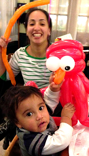 one year old with Elmo